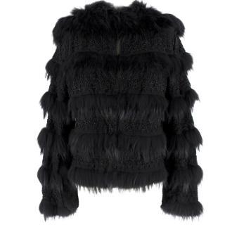 Armani Collezioni Black Fox Fur and Bead Jacket