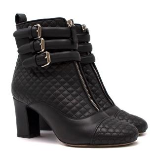 Tabitha Simmons Black Leather Quilted Ankle Boots