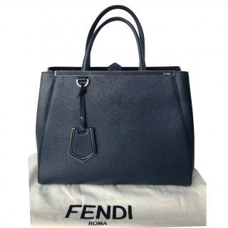 Fendi 2Jours Medium Textured Leather Tote, Navy