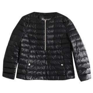 Herno Black Gloss Zip Side A-Line Puffa Padded Jacket IT42/UK10