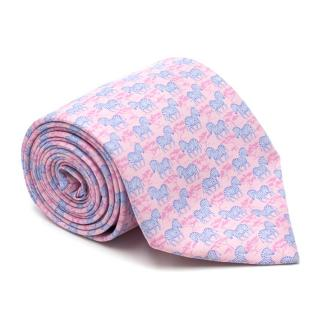 Hermes Pink Silk Zebra Patterned Tie