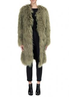 Whistles Longline Knit Goatskin Coat