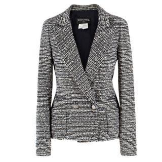 Chanel Black, Blue & Ivory Metallic Tweed Tailored Jacket
