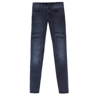 J Brand Dark Blue Zip Skinny Jeans
