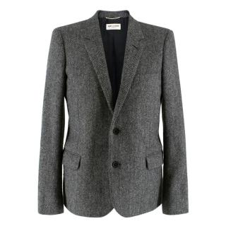 Saint Laurent Grey Wool Tweed & Leather Blazer