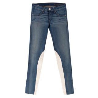 Rag and Bone Blue Skinny Jeans with White Stripe