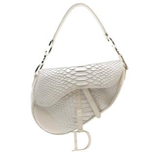 Dior Limited Edition White Python Saddle Bag