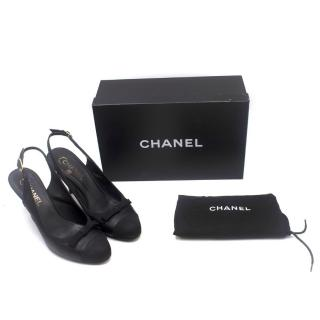 Chanel Black Leather Slingback Kitten Heel Sandals