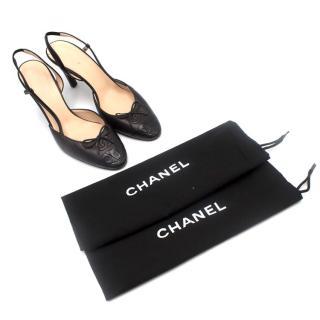 Chanel Ballerina CC Slingback Cap-Toe Sandalss