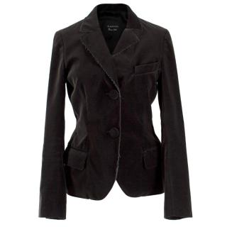 Lanvin Black Velvet Raw Hem Jacket