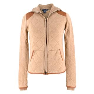 Ralph Lauren Camel & Leather Cashmere-blend Knit Jacket