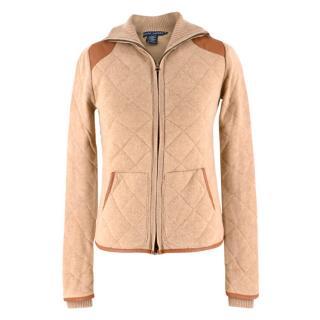 Ralph Lauren Camel & Leather Cashmere-blend Knit Jacket