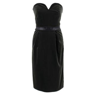 Lanvin Black Velvet Strapless Fitted Midi Dress