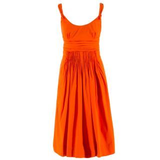 Prada Orange A-line Pleated Dress