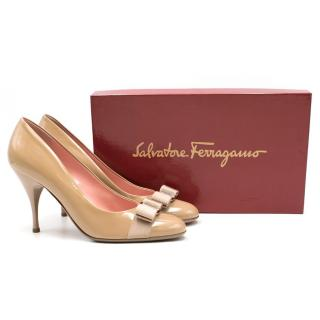 Salvatore Ferragamo Nude Patent Leather 85 Carla Pumps