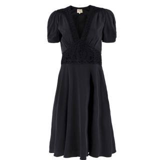 Temperley Black Silk Crochet Dress
