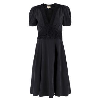 Temperley Black Silk Crochet Dress