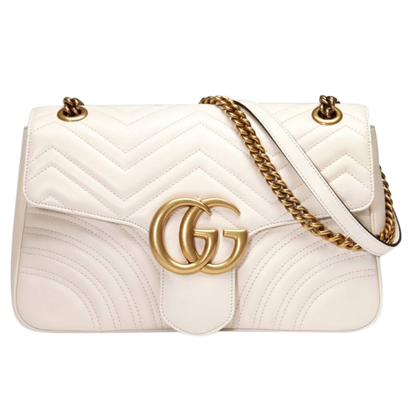 Gucci White Marmont Shoulder Bag W/ Special Edition Box