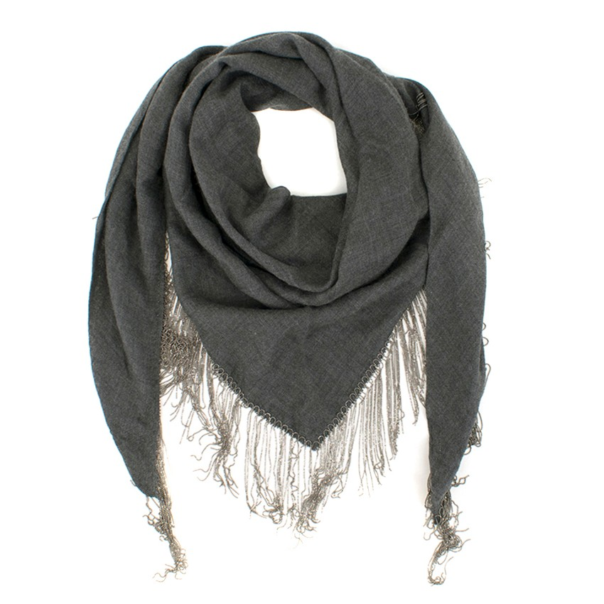 Brunello Cucinelli Cashmere & Silk-blend Manili Fringed Shawl
