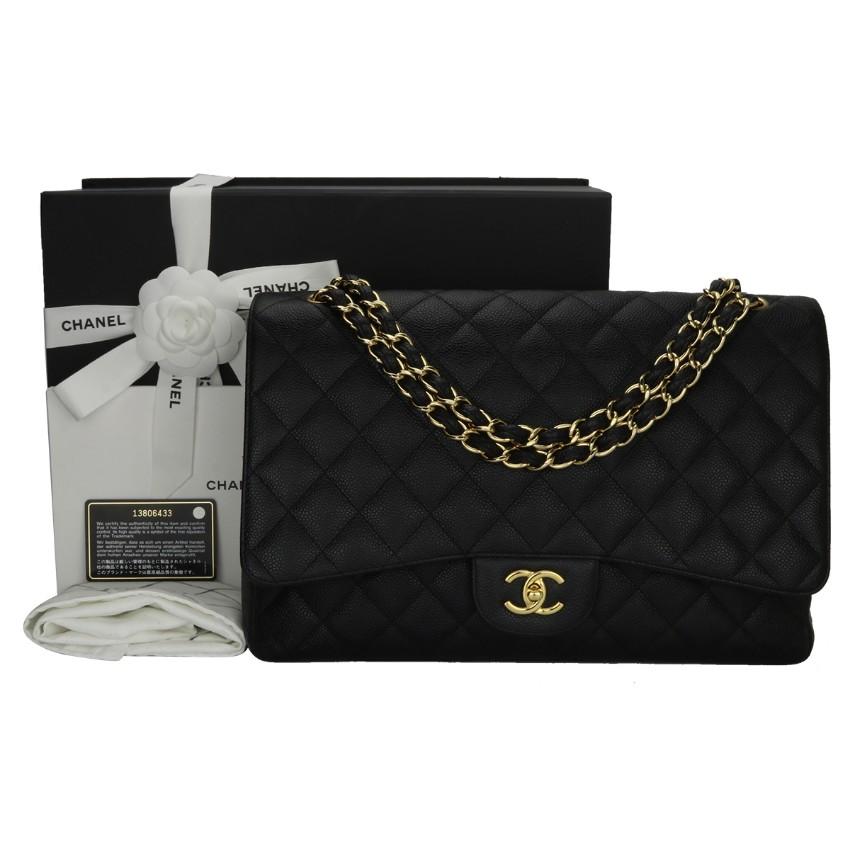 384abdab09f Chanel Black Caviar Single Flap Maxi Bag | HEWI London