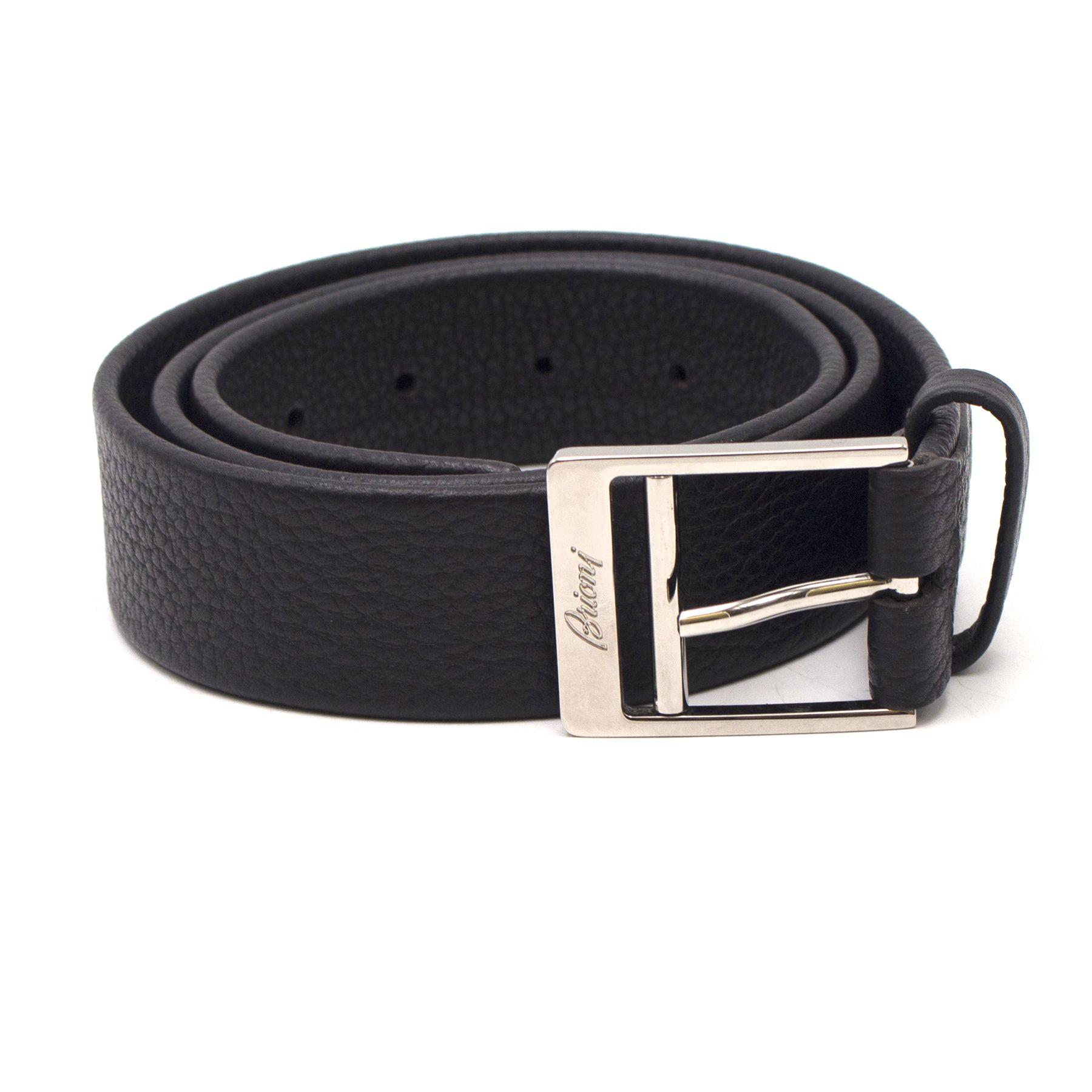 Brioni Engraved Logo Buckle Dark Brown Leather Belt