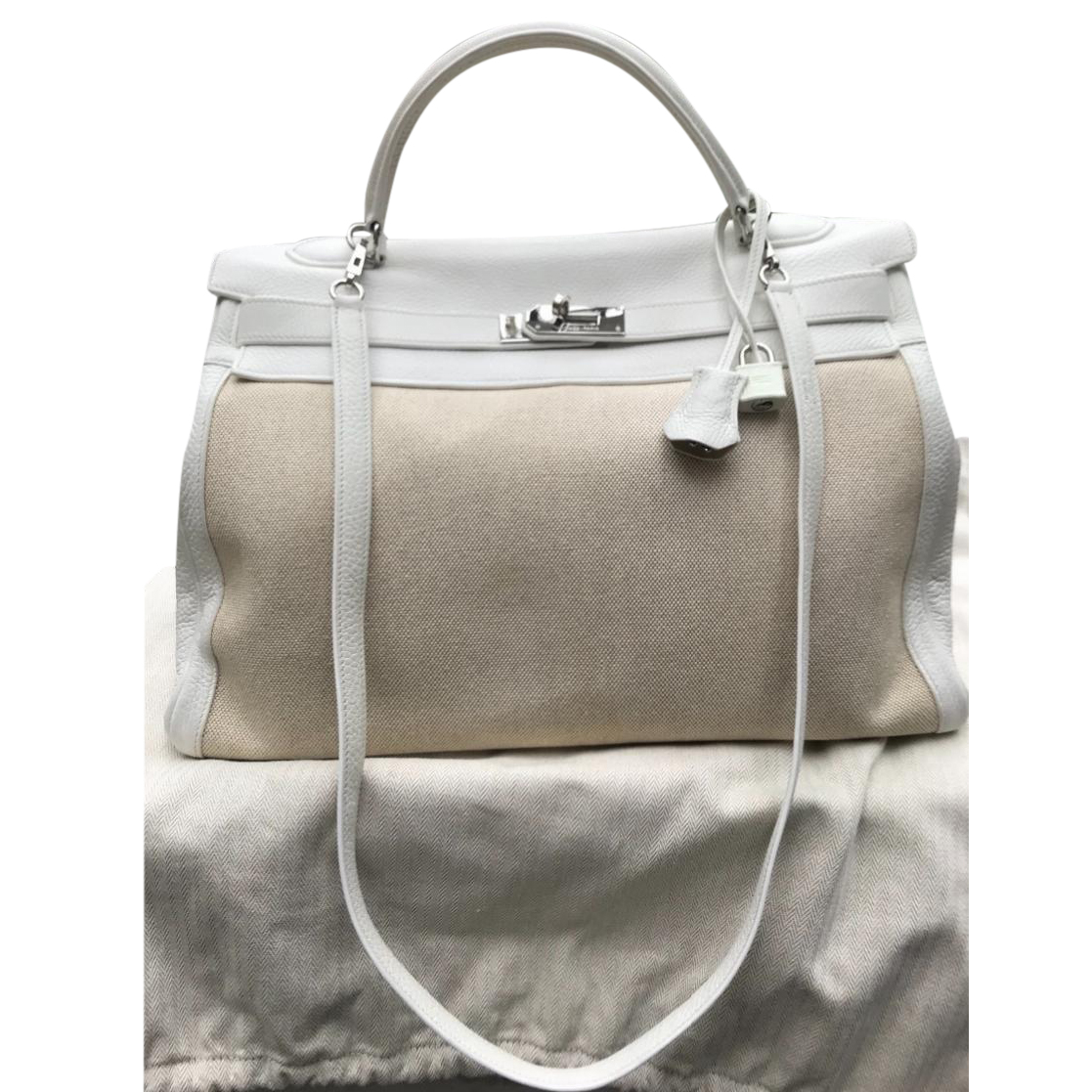 Herm�s Two Tone White Swift Leather and Toile H Kelly 35cm Bag