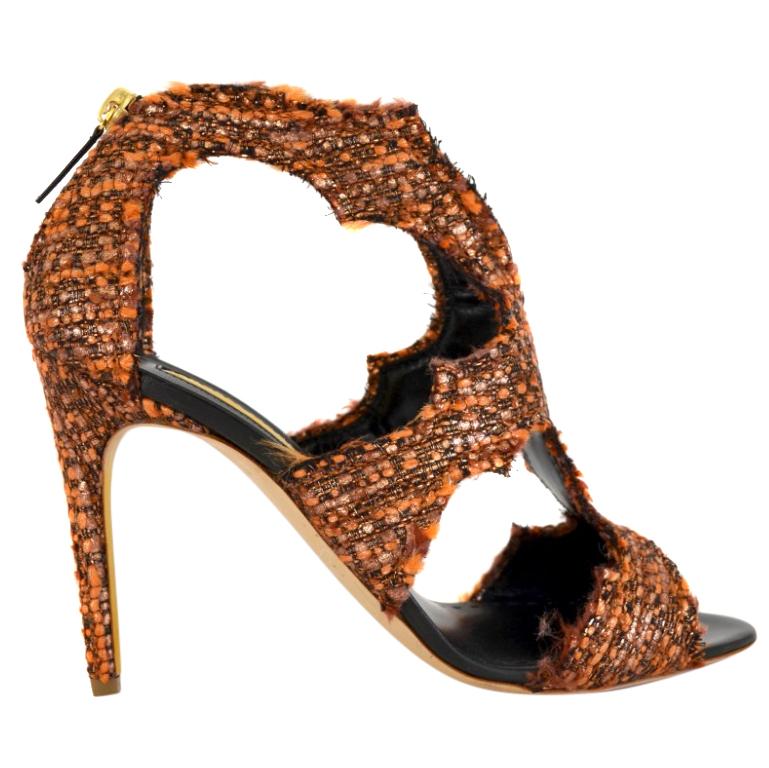 Rupert Sanderson Estelle Orange Tweed Heel Sandals