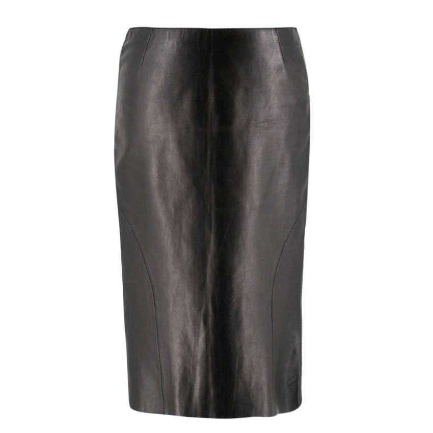 78d0098362bd5c Dolce Gabbana Black Leather Pencil Skirt