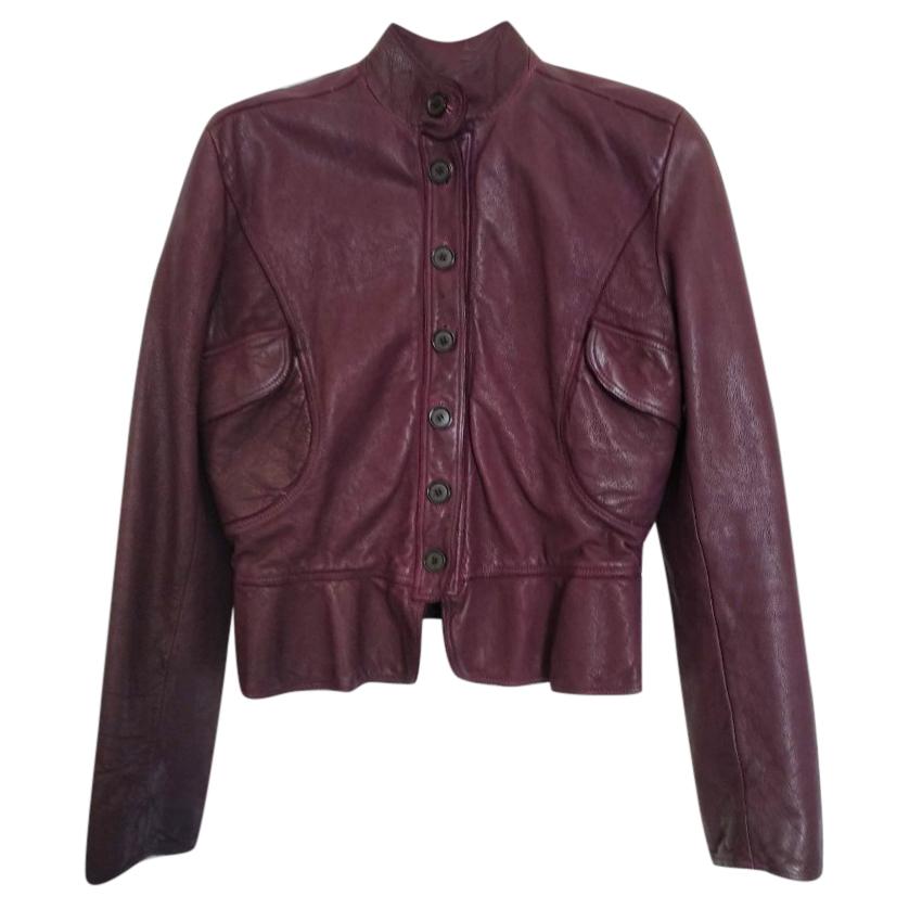 Burberry buffalo leather short prune jacket