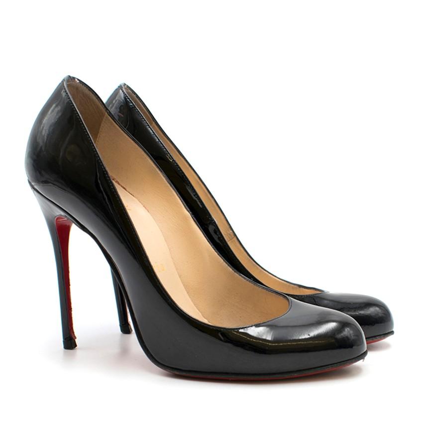 new arrival 1c4e8 2d3c1 Christian Louboutin Black 100mm Fifille Patent Heels