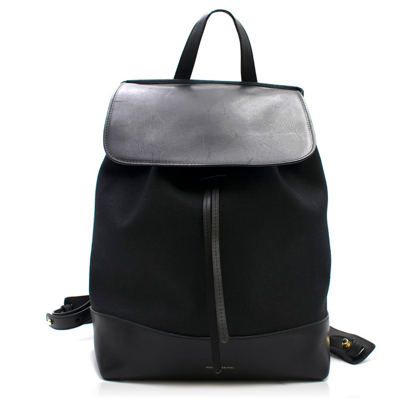 Mansur Gavriel Black Leather Trim Ballerina Backpack