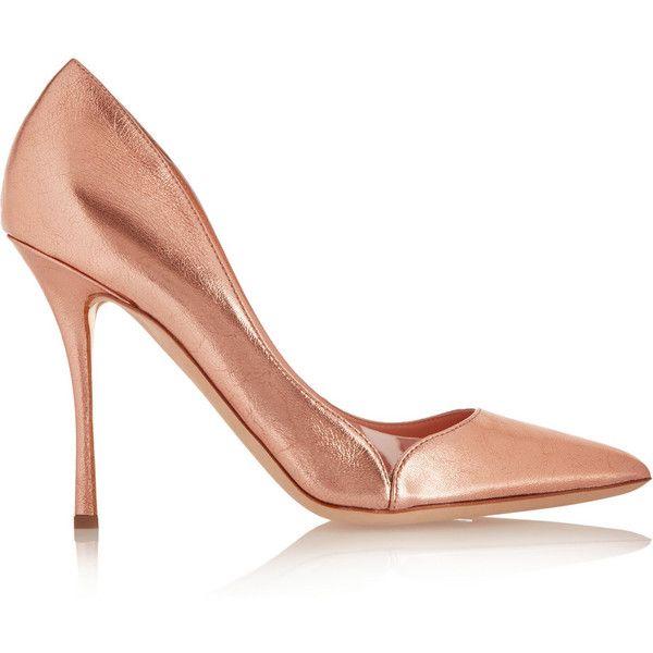 Rupert Sanderson Mermaid rose gold heeled court shoes