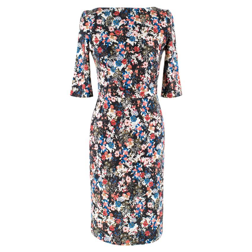 Erdem Black Floral Fitted Dress