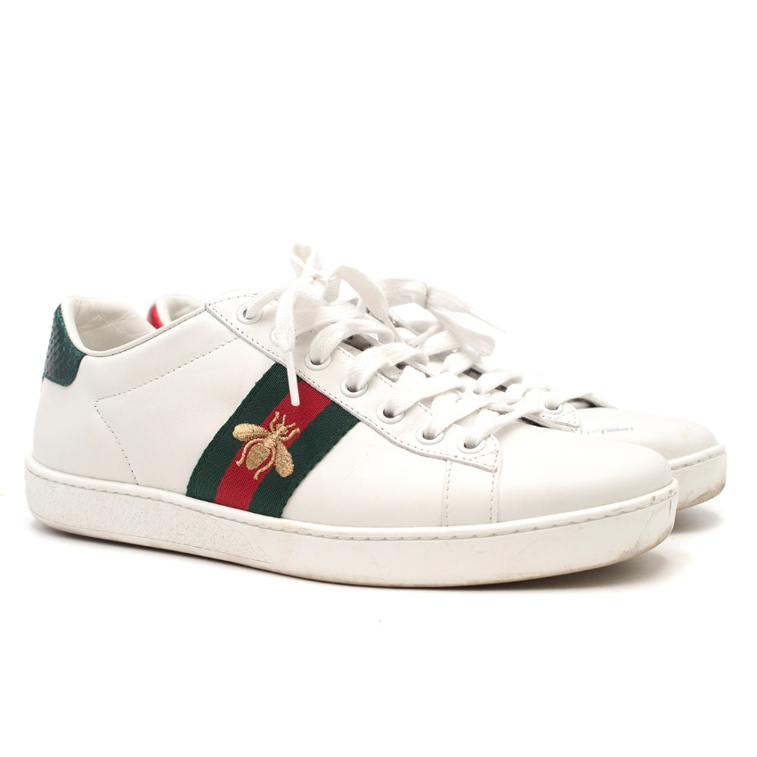 14480c7bfbb Gucci New Ace Bee Embroidered Leather Trainers