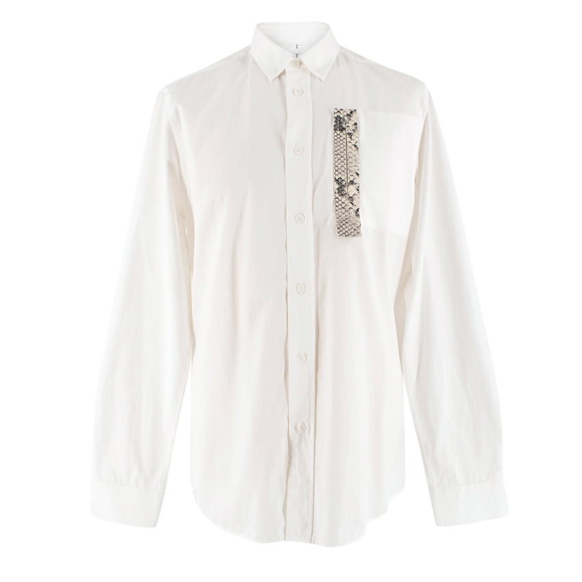 OAMC White Snakeskin-effect Patch-Pocket Shirt