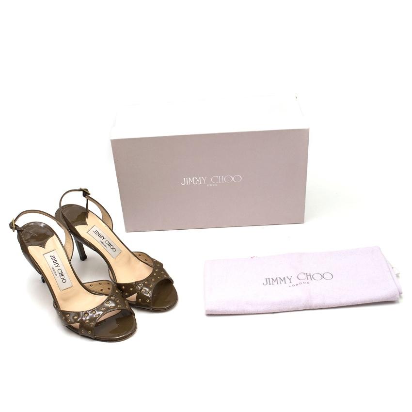 Jimmy Choo Patent Khaki Leather Slingback Sandals