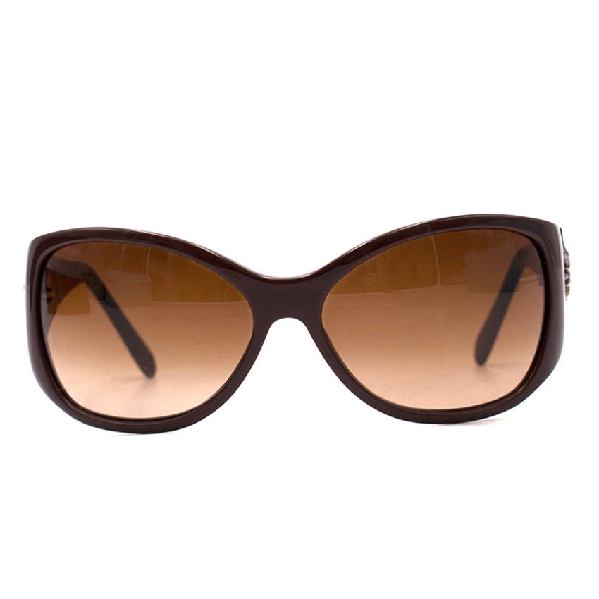 Tiffany & Co. Brown Framed & Silver Sunshine Embellished Sunglasses