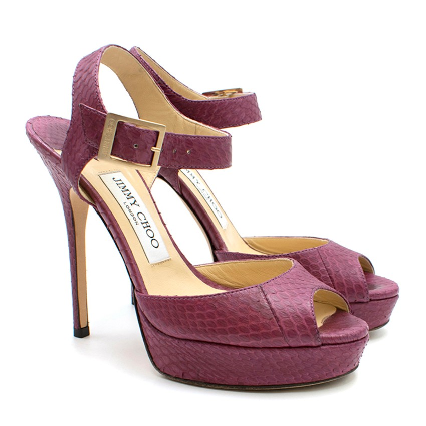 Jimmy Choo Purple Python Platform Sandals