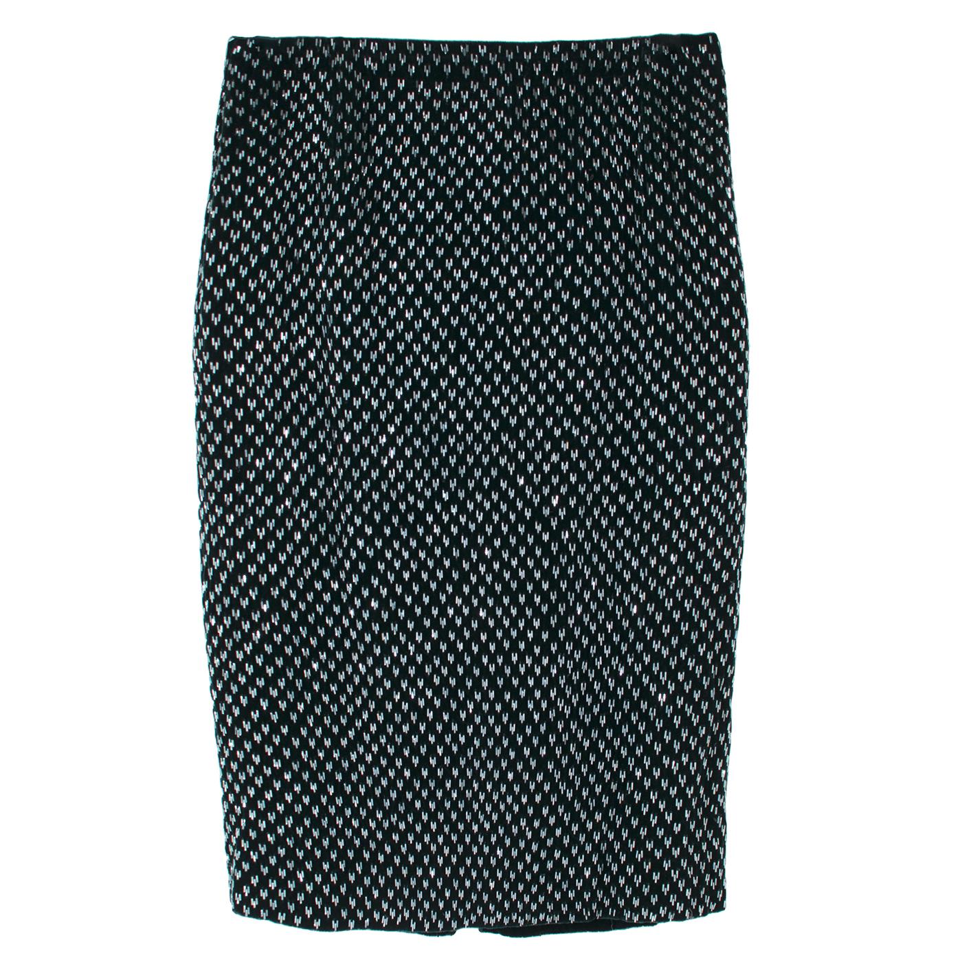 Loro Piana Dark Emerald Embellished Velvet Skirt