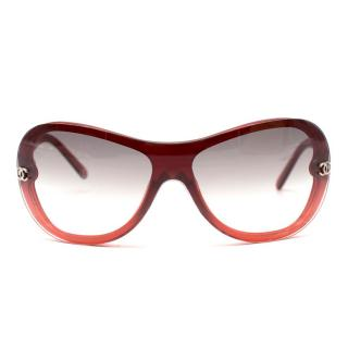 Chanel Red Ombre Shield Sunglasses
