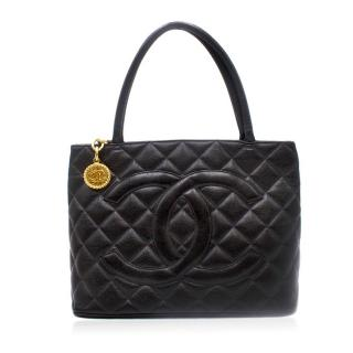 Chanel Black Quilted Caviar Vintage Medallion Tote Bag
