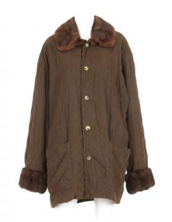 Hermes men's quilted jacket w/ mink collar and cuffs