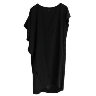 Zero + Maria Cornejo Black Silk Asymmetric Ruffle Dress