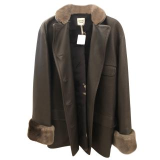 Hermes Fur Trim Double Breasted Leather Coat