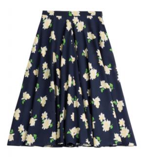 Michael Kors Collection Camellia Print Ruffled Skirt