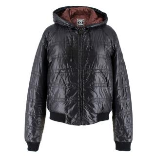 Chanel Black Padded Hooded Leather CC Patch Jacket