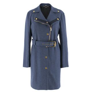 Gucci Blue Wool Belted Coat