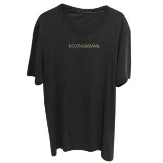 Dolce & Gabbana Grey Embroidered Tee