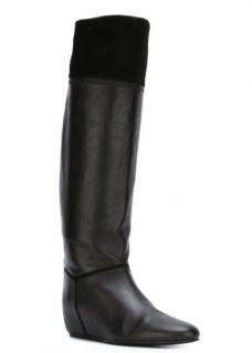 Lanvin Leather Suede Wedge Knee Boots