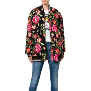Dolce & Gabbana Reversible Floral Velvet & Satin Bomber Jacket